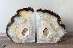 Natural Agate Bookends // Brazilian Quartz Geode Bookends // High Quality Agate Book Ends // GIFT Packaging Available (B277)