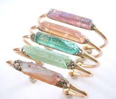 Springtime Raw Crystal Cuff Bracelet Boho Chic by NaturalGlam