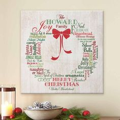 Personalized Christmas Wreath Canvas, Size: 11 x 11, White