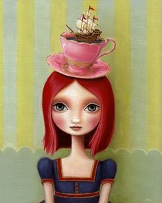 Big eye girl redhead art 8x10 wonderland art print pink hair tea cup illustration ship art nautical painting art print by Marisol Spoon. via Etsy.