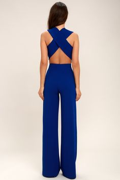 921320eca9b8 Thinking Out Loud Royal Blue Backless Jumpsuit