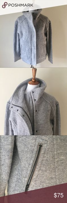 Banana Republic Zip Up Wool Jacket This jacket is in like new condition. It's super comfy and great for layering over bulky sweaters. It's grey but almost looks blue in some lighting. It's a blend of rayon and wool so it's not scratchy feeling. Banana Republic Jackets & Coats