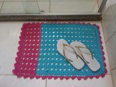 Tapete para banheiro em Crochet Azul e Rosa