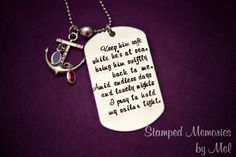 Navy Wife's Prayer - Hand Stamped Stainless Steel Dog Tag - Anchor Charm with Birthstones - Military Deployment Jewelry - Long Distance Lov