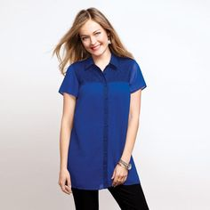 Button Front Swing Tunic in Misses. Avon. Bold and bright, flowy style that will liven up your spring wardrobe. Dainty lace detail adds a feminine edge, yet the casual tunic that will match with mostly anything! Available in sizes S-3X. NEW! Regularly $24.99.  #CJTeam #Avon #Style #Sale #Fashion #New  #C11 #SignatureCollection #Blouse #Tunic #Avon4me FREE shipping with any $40 online Avon purchase.  Shop Avon fashion online @ www.TheCJTeam.com
