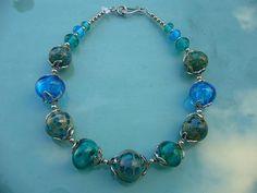 134A Collier perles creusesemeraude et feuille d'argent | Flickr: partage de photos!