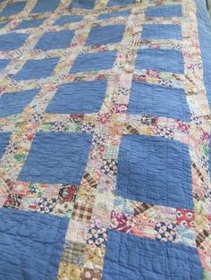Blue Postage Stamp Square Quilt Mid-Century Hand Sewn Cottage Style by sophia