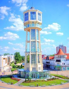 Siofok-the city close to Balaton lake, Hungary Tower Building, Building Art, Interesting Buildings, Amazing Buildings, Tower House, Water Tank, Windmill, Architecture Details, Beautiful Places