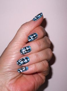 love this tweed manicure, here it is in blue!