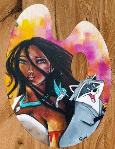 Acrylique/peinture/palettedepeintre/palette/Pocahontas/lalégendeindienne/disneycontemporain/peinture/réalisme/tableau/acrylique/illustration/graphisme/paint/Poppix' 38x28cm Pocahontas, Disney Characters, Fictional Characters, Palette, Disney Princess, Illustration, Painting, Acrylic Board, Painted Canvas