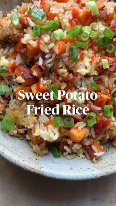 Tasty Vegetarian Recipes, Vegetable Recipes, Healthy Rice Recipes, Sweet Potato Recipes, Chicken Recipes, Veggie Dishes, Vegan Dinners, Asian Recipes, Food Videos