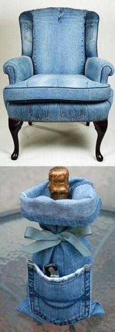 Amazing Way to Reuse Denim Jeans Upholstery 2019 Amazing Way to Reuse Denim Jeans Upholstery The post Amazing Way to Reuse Denim Jeans Upholstery 2019 appeared first on Denim Diy. Artisanats Denim, Denim Art, Denim And Lace, Denim Purse, Diy Bags Jeans, Diy Jeans, Denim Furniture, Furniture Ideas, Denim Decor