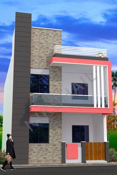 House plan with elevation option c by nikshail - Nikshail Home Design House Front Wall Design, Bungalow House Design, House Design Photos, Small House Design, Modern House Design, 2bhk House Plan, Duplex House Plans, Front Elevation Designs, House Elevation