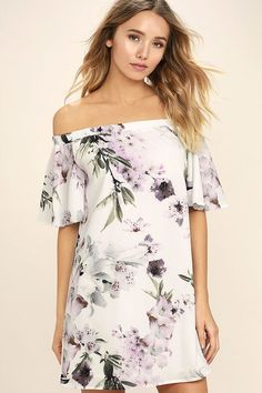 The Dream of You Ivory Floral Print Off-the-Shoulder Shift Dress will bring out the daydreamer in you! Gauzy woven fabric, with a lavender and green floral print, forms an elasticized, off-the-shoulder neckline with fluttering short sleeves. Flirty shift silhouette.