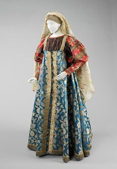 Ensemble    Date:      19th century  Culture:      Russian  Medium:      silk, metal, cotton  Dimensions:      Length at CB (a): 56 in. (142.2 cm) Length at CB (b): 15 in. (38.1 cm) c: 84 in. (213.4 cm)  Credit Line:      Brooklyn Museum Costume Collection at The Metropolitan Museum of Art, Gift of the Brooklyn Museum, 2009; Gift of Mrs. Edward S. Harkness in memory of her mother, Elizabeth Greenman Stillman, 1931  Accession Number:      2009.300.2322a–c