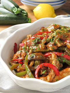 Sherry Chicken Saute with Mushrooms & Peppers delivers great Italian-American flavor to your table with just 6 net carbs.   low carb, gluten-free, dairy-free. Paleo  lowcarbmaven.com