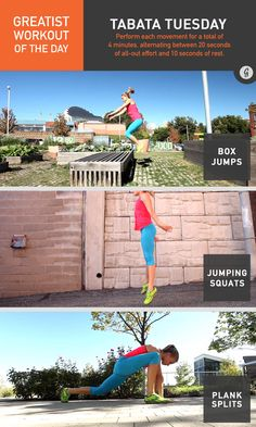 Greatist Workout of the Day: Tuesday, November 18th: 4:00 tabata jumping squats, plank splits, tuck jumps