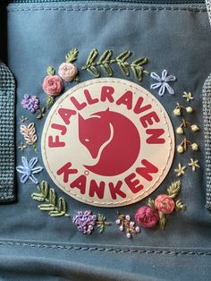 Hand embroidered full size and mini Kanken backpack Diy Embroidery Designs, Embroidery Boutique, Embroidery On Clothes, Embroidery Bags, Simple Embroidery, Embroidered Clothes, Hand Embroidery Stitches, Cross Stitch Embroidery, Embroidery Patterns