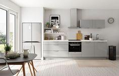 Une cuisine simple et pratique avec façades gris perlé pour un espace lumineux