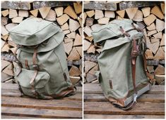 The haversack or bread bag correctly attached to the Swiss Army rucksack. With all the loops, belt loops and straps, there are more than one way to securely attach your gear together. Swiss Army Backpack, Army Rucksack, Swiss Switzerland, Military Issue, Vintage Backpacks, Clean Shoes, Leather Conditioner, Cotton Bag, Alps