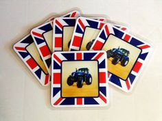 Blue New HollandTractor/Union Jack laminated Coasters, Set of 6, Square.
