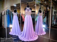 This sleek and sexy dress is stunning with its sheer lavender bodice and a collar, and it's at Rsvp Prom and Pageant, your source of the HOTTEST Prom and Pageant Dresses!