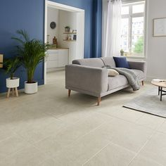 Burgundy Cream Matt Stone effect Porcelain Floor tile, Pack of - B&Q for all your home and garden supplies and advice on all the latest DIY trends Stone Flooring, Kitchen Flooring, Hall And Living Room, Matt Stone, Cream Stone, Beige, Beautiful Bathrooms, Decoration, Tile Floor
