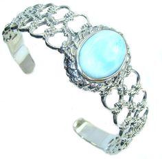 $165.00 Royal+Design+Light+Blue+Larimar+Sterling+Silver+Bracelet+/+Cuff at www.SilverRushStyle.com #bracelet #handmade #jewelry #silver #larimar