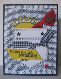 Barb Mann Stampin' Up! Demonstrator - SU - Pocketful of Sunshine, Burlap, Waterfront - masculine - summer Pretty Cards, Cute Cards, Burlap Card, Cards For Friends, Friend Cards, Pocket Full Of Sunshine, Birthday Cards For Women, Cricut Cards, Pocket Cards