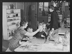 Cod liver oil and orange juice is fed to children at the nursery school at the FSA (Farm Security Administration) farm family migratory labor camp. Yakima, Washington