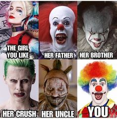 """Thirty-Two Memes & Pics For Anyone Obsessed With Halloween - Funny memes that """"GET IT"""" and want you to too. Get the latest funniest memes and keep up what is going on in the meme-o-sphere. Funny Clown Memes, Stupid Funny Memes, Funny Relatable Memes, Funny Clowns, Funniest Memes, Hilarious, Horror Movies Funny, Scary Movies, Good Movies"""
