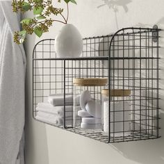 Wire Basket Shelves, Wire Wall Basket, Baskets On Wall, Bathroom Wall Storage, Bathroom Organization, Bathroom Wall Baskets, Bathroom Ideas, Bath Ideas, Bathroom Styling