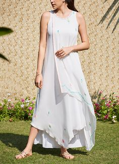 Shop Ivory Layered Dress With Embroidery from Mandira Wirk Indian Fashion Designers, Ethnic Wear Designer, Indian Designer Outfits, Designer Dresses, White Maxi Dresses, Casual Summer Dresses, Simple Dresses, Shift Dresses, Western Dresses