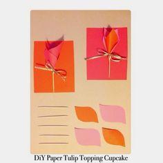 DiY Paper Tulip Topping Cupcake