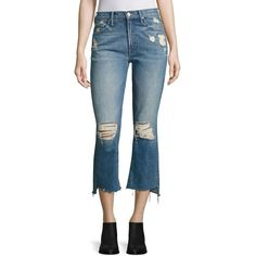 MOTHER Insider Distressed Cropped Step Hem Jeans ($248) ❤ liked on Polyvore featuring jeans, destroyed flare jeans, flare jeans, ripped flare jeans, flared cropped jeans and destroyed jeans