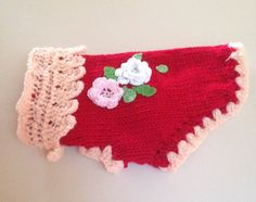 XS Hand Knit Red Flowers Sweater Chihuahua Clothes by RocknHotdog