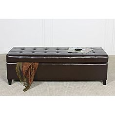 @Overstock - The Mission ottoman bench is crafted with exquisite quilted bonded leather that adds a rich look and unique style. This ottoman features a hidden storage space inside, and the tufted lid adds extra comfort for seating.http://www.overstock.com/Home-Garden/Mission-Brown-Tufted-Bonded-Leather-Ottoman-Storage-Bench/5036236/product.html?CID=214117 $198.99