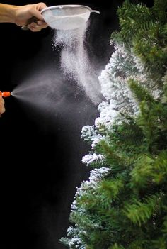 Learn how to easily flock your own Christmas tree using SnoFlock! This project allows you to create the look of a beautiful snow covered tree, easily.