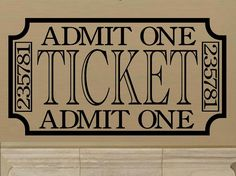 vinyl wall decal Retro vintage style Movie ticket. $10.95, via Etsy.  Theater Room entry