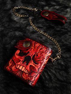 Fire Skull mens bifold biker wallet purse  genuine leather handmade B14 #Handmade #Bifold