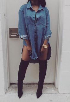 How to wear Thigh High Boots Outfit - Fashion Killa, Look Fashion, Denim Fashion, Winter Fashion, Fashion Outfits, Fashion Black, Fashion Clothes, Latex Fashion, Style Clothes