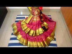 Varalakshmi silk saree draping|Varalakshmi decoration|How to drape saree varalakshmi|Durga saree - YouTube