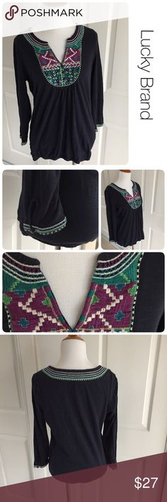 Lucky Brand boho embroidered top S ♦️Excellent condition.  No holes, stains or piling.                                                  ♦️Materials- 100 cotton                           ♦️Measurements:                                  ♦️Laying flat armpit to armpit: approximately 17 inches                                                  ♦️Laying flat from the back of the neck to the bottom of the front hem is approximately 23 inches Lucky Brand Tops Tees - Long Sleeve