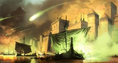 game of thrones The Blackwater Rush artwork | Battle of Blackwater Bay From A Clash of Kings :