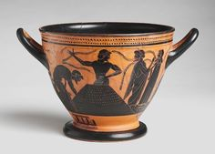 Black-Figure Skyphos: Preparation of Clay or Agricultural Scene, Attributed to The Theseus Painter, Greek, Attic, c. 510-500 BC, Harvard Art Museums/Arthur M. Sackler Museum.