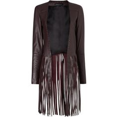 ThePerfext Wine Leather Fringe Christy Jacket ($1,665) ❤ liked on Polyvore featuring outerwear, jackets, burgundy, burgundy jacket, real leather jacket, long leather jacket, long sleeve jacket and lined leather jacket