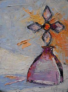 Cross Bottle Painting Oil Still Life Small by CarolSchiffStudio, $99.95