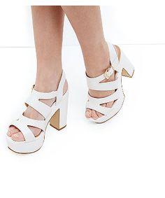 aed471cc86d Wide Fit White Platform Block Heels