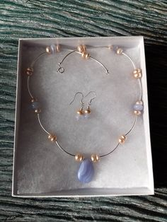 Crested Waves - 925 sterling silver necklace & earrings set featuring Blue Lace Agate and peach cultured freshwater Pearls, 925 silver waves Wave Jewelry, Pearl Jewelry, Gemstone Jewelry, Agate Necklace, Blue Necklace, Blue Lace Agate, Sterling Silver Necklaces, Earring Set, 925 Silver
