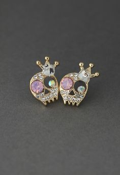 Crystal Skull Queen Earrings - Retro, Indie and Unique Fashion